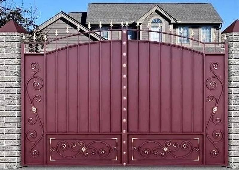 Распашные ворота из стального листа