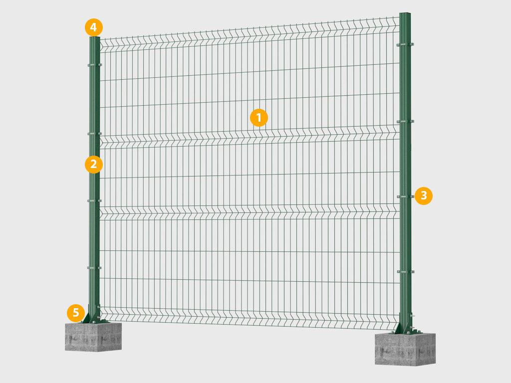 Конструкция заборной секции Оптима